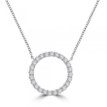 18ct White Gold Circle of Diamond Pendant Chain
