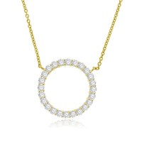 18ct Gold Diamond Circle Pendant Chain