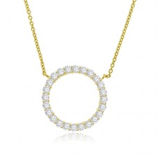 18ct Gold Diamond Circle Pendant Chain