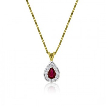 18ct Gold Pear Ruby & Diamond Cluster Pendant