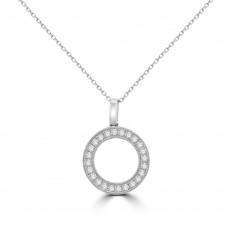 18ct White Gold Diamond Circle of Life Pendant Chain