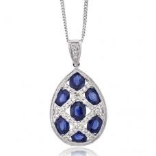 18ct White Gold Sapphire & Diamond Lattice Pendant