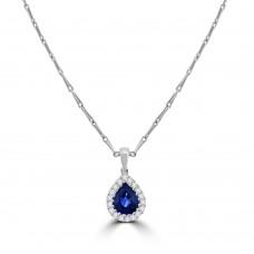 18ct White Gold Pear Sapphire Diamond Halo Pendant
