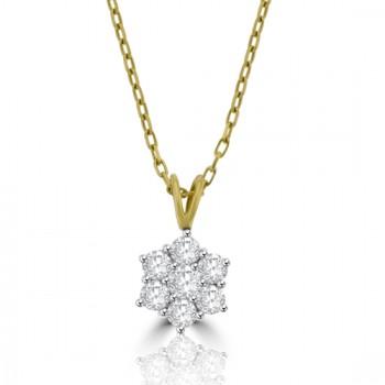 18ct Gold 7-stone .75ct Diamond Daisy Cluster Pendant