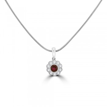 18ct White Gold Ruby Diamond Floral Cluster Pendant