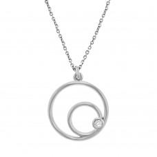 18ct White Gold Diamond Eclipse Pendant Chain