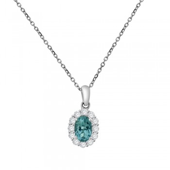 18ct White Gold Aquamarine & Diamond Cluster Pendant Chain