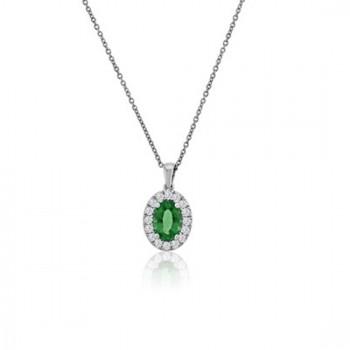 18ct White Gold Emerald & Diamond Oval Cluster Pendant Chain