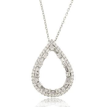 18ct White Gold Brilliant & Baguette Diamond Open Pear pendant
