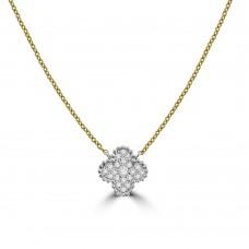 18ct Gold Diamond Clover Pendant Chain