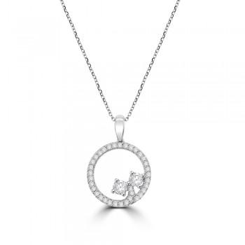 18ct White Gold 2-stone Diamond Circle of Life Pendant Chain