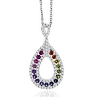 18ct White Gold Rainbow Sapphire & Diamond Drop Pendant