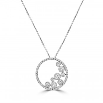 18ct White Gold Circle of Life Bubble Diamond Pendant Chain