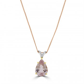 18ct Rose Gold Pear 6.00ct Morganite & Diamond Pendant Chain