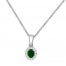 18ct White Gold Emerald & Diamond Cluster Pendant Chain