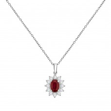 18ct White Gold Ruby & Diamond Oval Cluster Pendant Chain