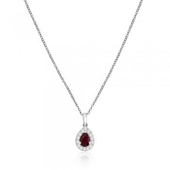 18ct White Gold Pear Ruby Diamond Halo Pendant Chain