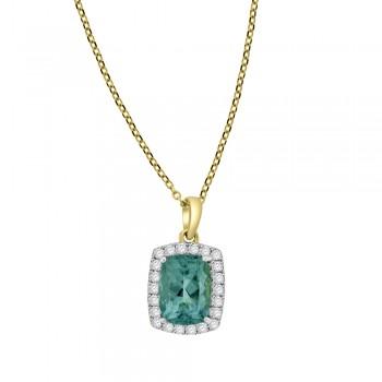 18ct Yellow Gold Aquamarine Cushion Diamond Halo Pendant Chain