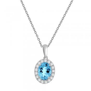 18ct White Gold Oval Aquamarine Diamond Halo Pendant Chain