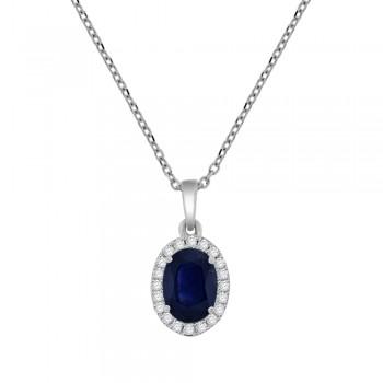 18ct White Gold Oval Sapphire & Diamond Cluster Pendant Chain
