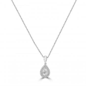 18ct White Gold Pear cut Diamond Double Halo Pendant Chain