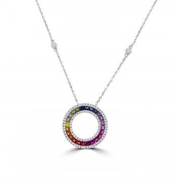 18ct White Gold Rainbow Sapphire & Diamond Circle Pendant Chain