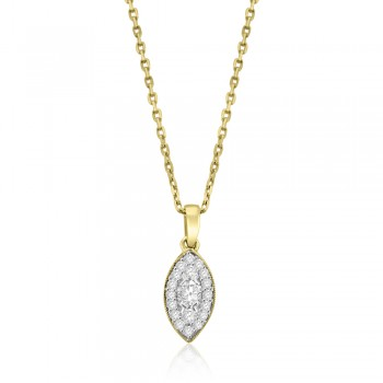 18ct Gold Diamond Cluster Marquise Pendant Chain