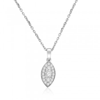 18ct White Gold Diamond Cluster Marquise Pendant Chain