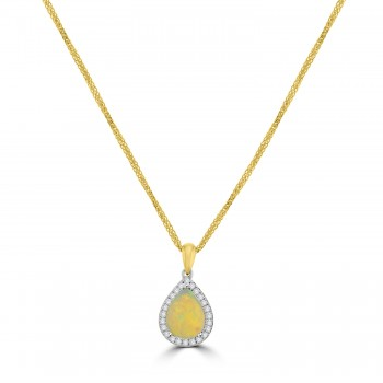 18ct Gold Opal Pear Diamond Halo Pendant Chain