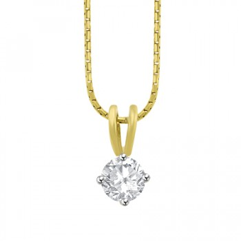 18ct Gold Solitaire .51ct Diamond Compass set Pendant