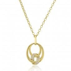 18ct Gold Oval Spiral Diamond Pendant Chain