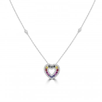 18ct White Gold Rainbow Sapphire & Diamond  Heart Pendant Chain