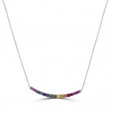 18ct White Gold Rainbow Sapphire Arc Necklet