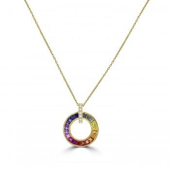 18ct Gold Rainbow Sapphire Circle of Life Pendant Chain