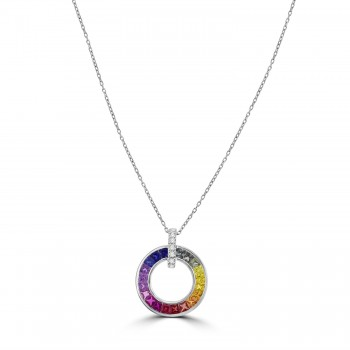 18ct White Gold Rainbow Sapphire Circle of Life Pendant Chain
