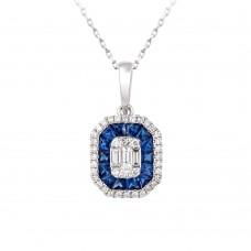 18ct White Gold Sapphire & Diamond Baguette Cluster Pendant