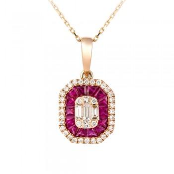 18ct Rose Gold Ruby & Baguette Diamond Cluster Pendant