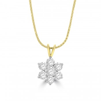 18ct Gold 1.04ct Diamond Daisy Cluster Pendant