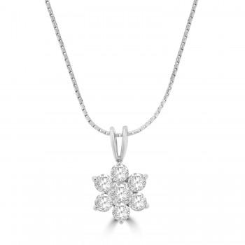 18ct White Gold 1.04ct Diamond Daisy Cluster Pendant