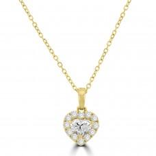 18ct Gold Heart cut Diamond Halo Pendant Chain