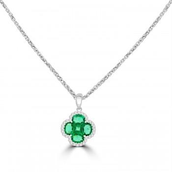 18ct White Gold Emerald and Diamond Clover Pendant