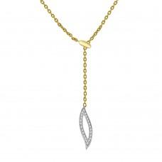 14ct Yellow Gold Diamond Leaf Drop Pendant Chain