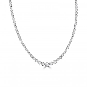 18ct White Gold 3.03ct Diamond Graduated Tennis Necklace