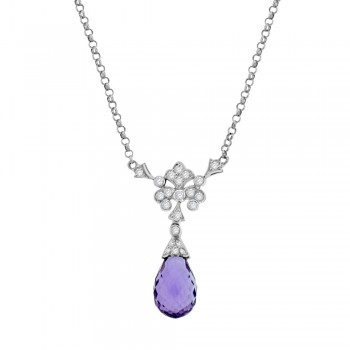 18ct White Gold Amethyst Dropper Diamond Pendant Chain