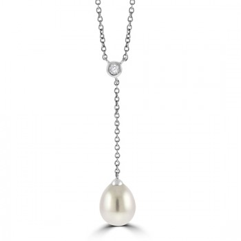 18ct White Gold Diamond & Cultured Pearl Drop Pendant