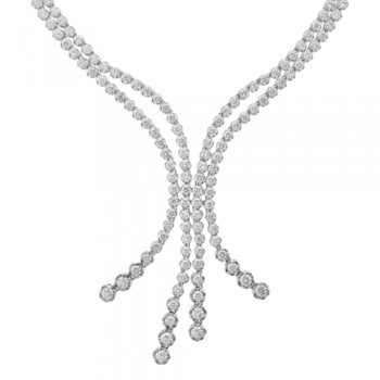 18ct White Gold Four strand Diamond Necklet