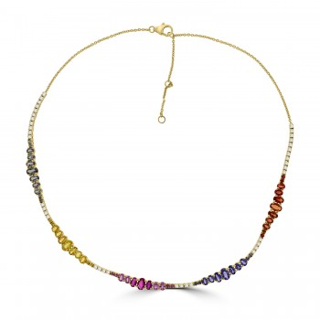18ct Gold Rainbow Sapphire, Ruby & Diamond Necklet