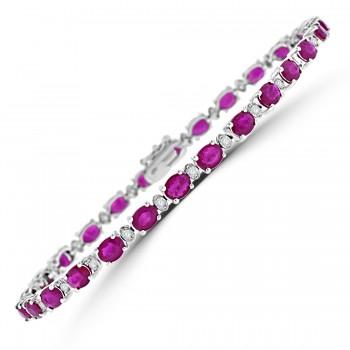 18ct White Gold Ruby & Diamond Line Bracelet