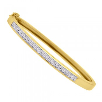 18ct Gold Princess cut Diamond Bangle