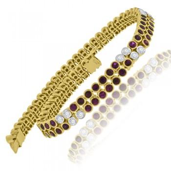 18ct Gold Two-Row Ruby & Diamond Bracelet